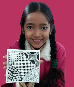 Indian girl doing Zentangle image